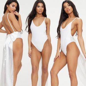 US 10 ASOS White Bridal Satin Bow Back Swimsuit